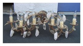 Pair of Custom Natural Quartz & iron leaves,  6 light sconces by Brooks Noah