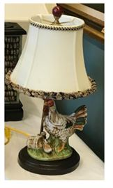 Small French Mounted Ceramic Hen & Chick Lamp