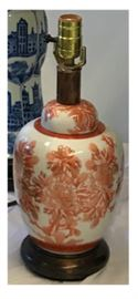 Small Porcelain Peony Ginger Jar Lamp in orange & white