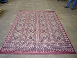 Plum Flat Weave Embroidery Tunisian Rug                                       7.3 ft x 5.5 ft