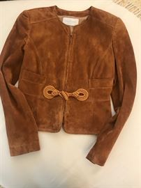 Valentino suede jacket with knot detail on front. Lined, Camel color. Im just Gorgeous!