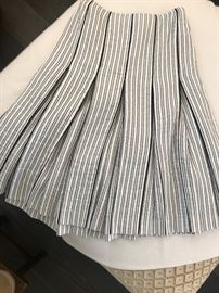 Hermes black and white box pleat skirt.