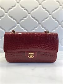 Chanel Classic S/M Double Flap Red Croc Leather Shoulder Bag. Timeless and Classic!