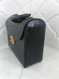 Lana Marks Medium Black Ostrich Handbag. (side view)
