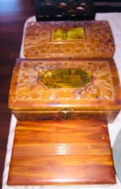 four vintage wooden carved boxes