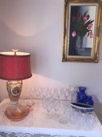 art, vintage lamp, fine crystal, colored glass
