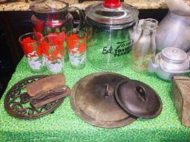 old Tom peanut jar, vintage glasses, aluminum ware