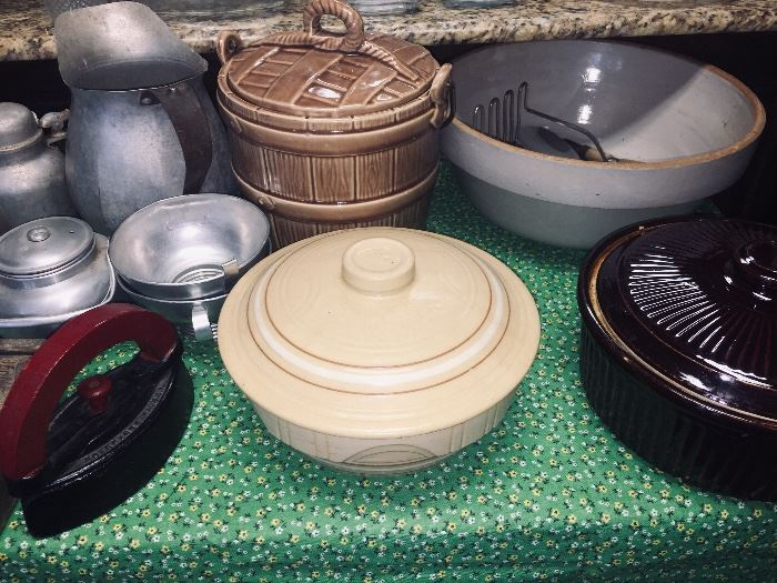 crock bowls and old irons