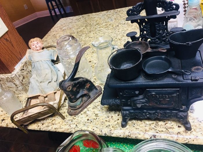vintage childs stove, old doll and more toys