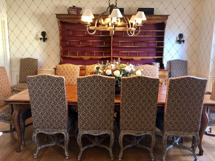 """Collection Reproduction Dining Table with matching Welsh type sideboard/display. Table extends to 120""""."""