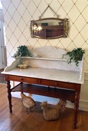 Antique, marble-top sideboard