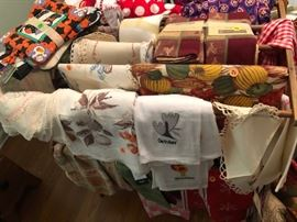 Vintage and new linens