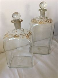 Antique hand-painted decanters