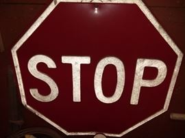 embossed stop sign