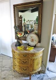 Vintage Hand-Painted Demilune Marble-Top Chest