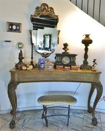 Antique Curved Console Table; Victorian Faux Onyx Mantel Clock; Graceful Antique Gilt Wood Beveled Mirror