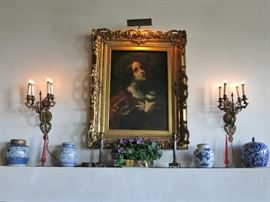 Beautiful 19th. C. Oil Painting of the Madonna w/ a pair of Vintage Gilt Wall Sconces