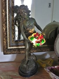 Victorian Spelter Waif with an Illuminated Flower Basket