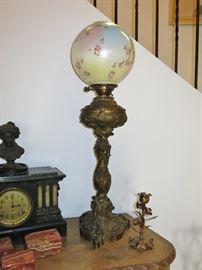 Wonderful Heavy Victorian Lamp w/ Original Globe