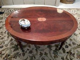 Hekman Furniture Co. oval mahogany inlaid coffee table