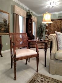 Italian painted armchair with cane back