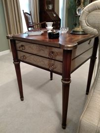 Theodore Alexander mahogany and silvered panel lamp table