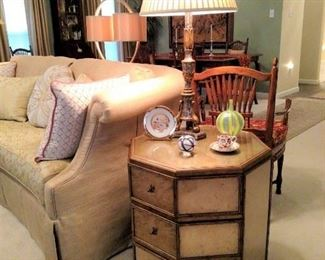Sam Stang art glass vase  and other oddments on top of Theodore Alexander end table