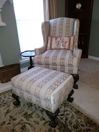 Southampton Chippendale style upholstered armchair and ottoman