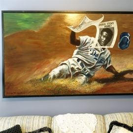 """Jackie Robinson painting by Zack Smithey, 62""""w by 38""""h with frame"""