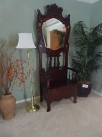Hall Tree with Bench & Beveled Mirror