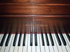 The Steger & Sons baby grand has the original keytops