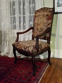 Antique needlepoint tapestry throne chair (comes with documentation)