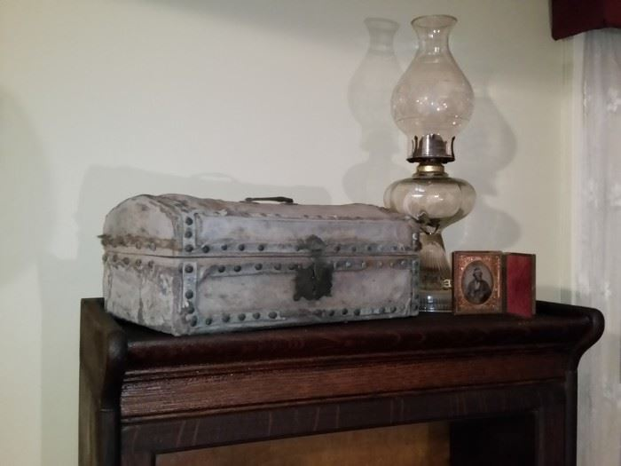 This buckskin covered chest was said to be carried by a Davis ancestor in the Civil War.  However, it is made like a Revolutionary War document chest.