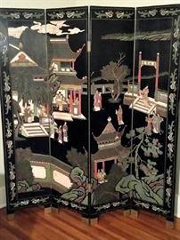 Beautiful black lacquer oriental screen