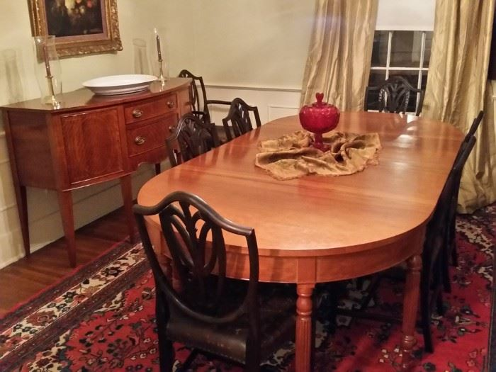Owner had table, large sideboard, and small sideboard custom built by a master furniture craftsman in Nashville in 1964 . Copied from the 1800's Hepplewhite design. Beautiful cherry wood.