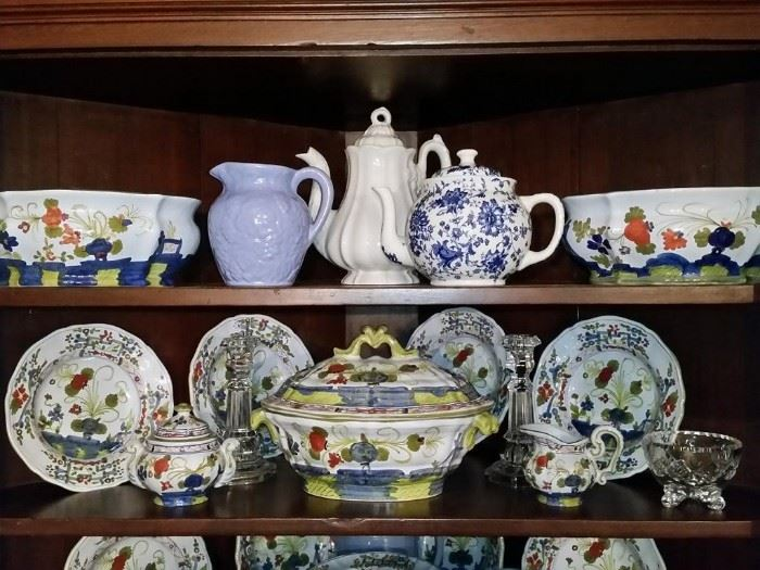 Some of the pottery and part of the set of Faenza  'Blue Carnation' (made in Italy)