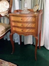 A closer look at one of the French nightstands/end tables