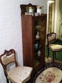 Antique oak curio cabinet
