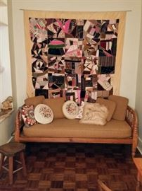 Handmade crazy quilt and spool style day bed