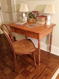 Small vintage oak writing desk and oak chair