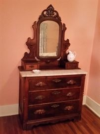 Antique mahogany chest with mirror