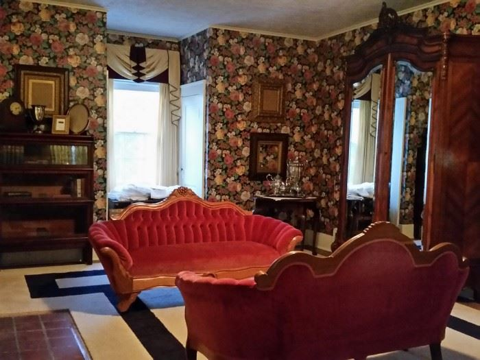 Two Victorian sofas and other antiques