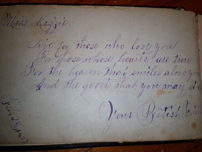 The autograph book contains this beautifully written poem.