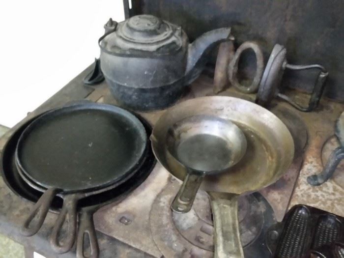 Some antique and vintage cookware