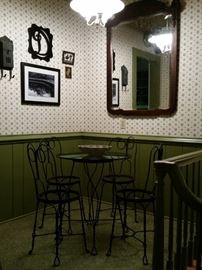 Ice cream parlor table and 4 chairs and antique mirror