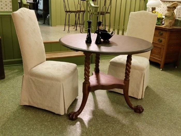 Custom slip covered parsons chairs and round table with barley twist legs