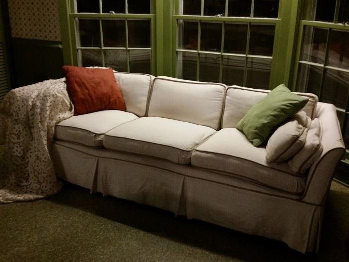 Custom slip covered sofa