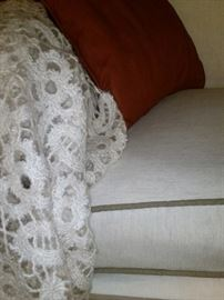 A closer look at the fabric of the sofa