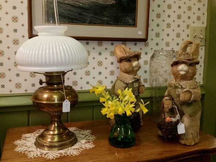 Converted brass oil lamp and two Easter bunnies