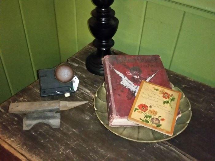 Vintage door lock and jeweler's anvil